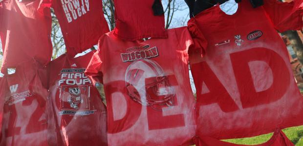 Torn garments commemorate Rana Plaza victims