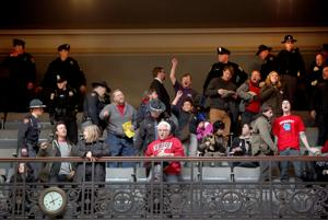 Photos: Assembly gallery cleared after protesters disrupt hearing