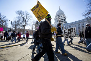 Labor groups bring passion, if not much hope, to rally at Capitol