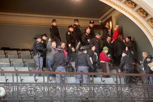 Gallery cleared after protesters disrupt right-to-work debate in Wisconsin Assembly