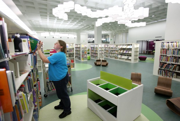 Tina Marie Maes in the children's area of the new Central Library