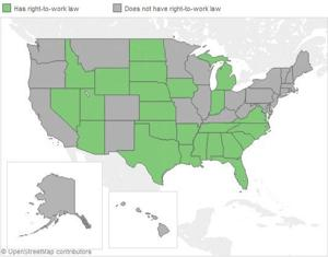 Interactive map: States with right-to-work laws