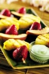Grilled fruit kabobs with tropical yogurt sauce