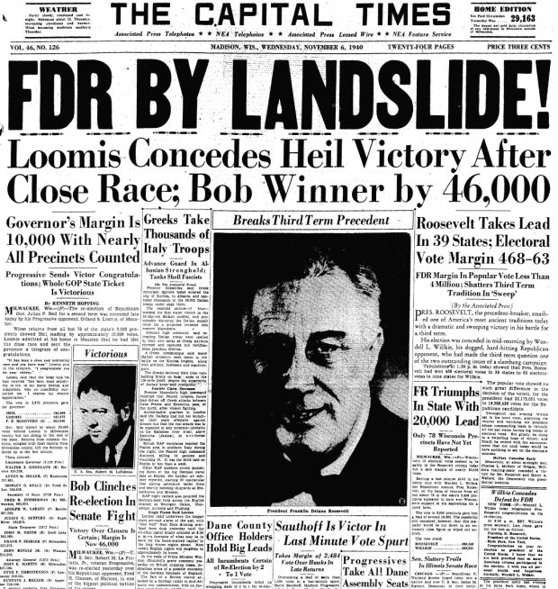 Image result for fdr wins unprecedented third term in office