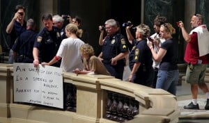 Eight arrested at Capitol for protest without permit