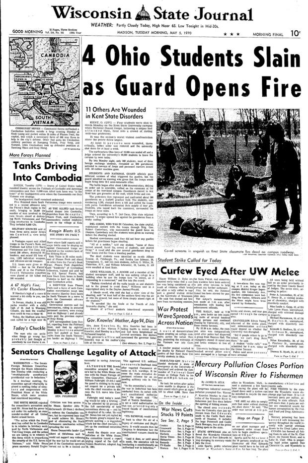 an account of events during the 1970 student tragedy at kent state university Each year on may 4, students, activists, and survivors gather at kent state  university in ohio to mark the anniversary of the kent state massacre in 1970   newsletter about us site map account/settings article topics  at kent state  university, organizes a number of commemorative events.