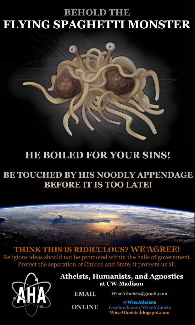 in the spirit uw atheists add flying spaghetti monster