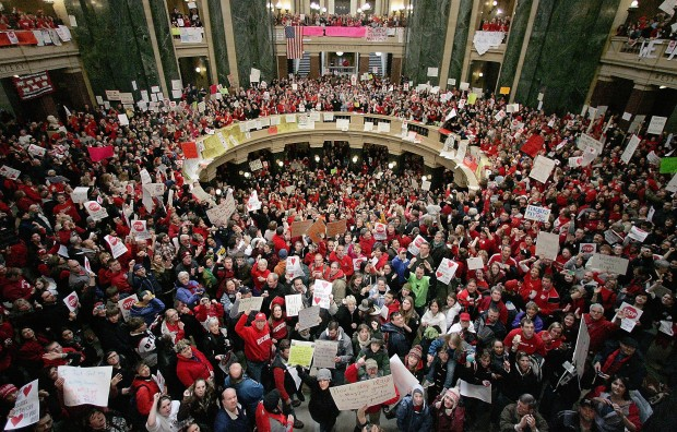 Teachers among protesters at 2011 protest at the Wisconsin state capitol