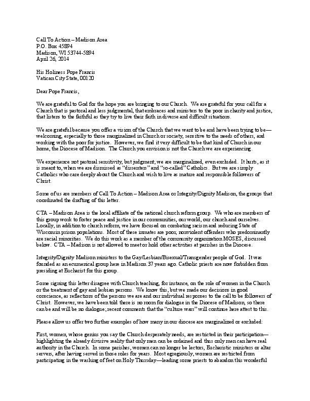 Letter To Pope Francis Sample