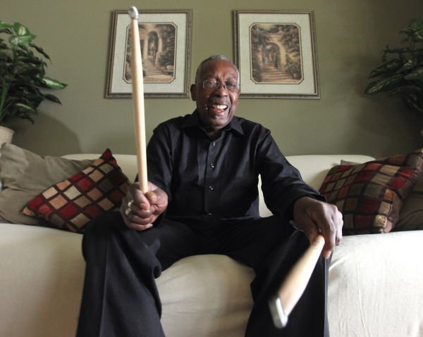 Clyde Stubblefield and his drumsticks in 2013 (copy)