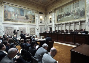 Justices split politically as court takes up collective bargaining law