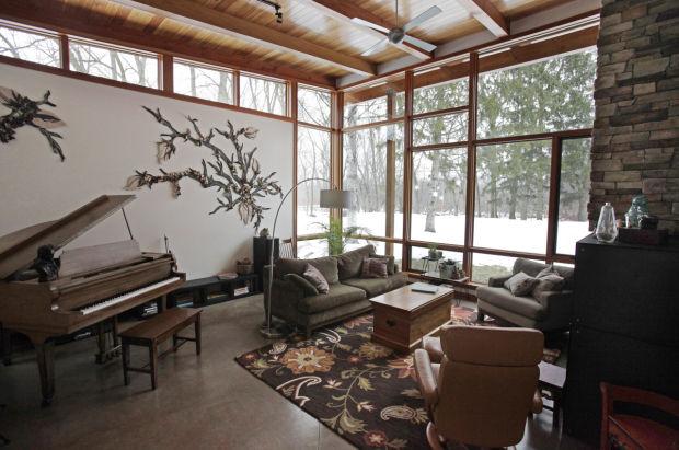 Modern Home Tour, living room ceiling of Matt Tills' home