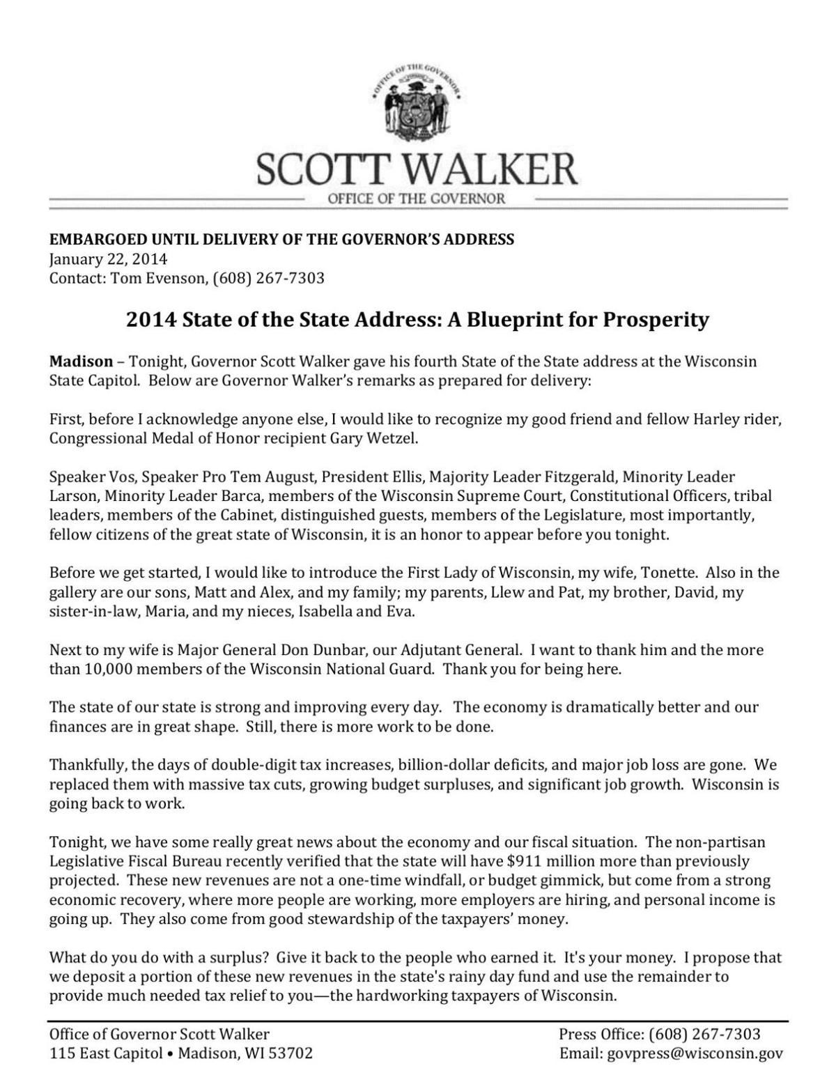 Read Walker's State of the State address