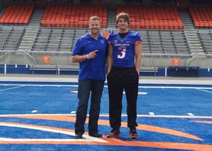 <p>Micah Wilson poses for a picture with Boise State coach Bryan Harsin on his recent trip to Boise. (Contributed photo)</p>