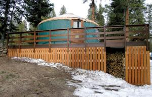 <p>Contrasting pictures of a yurt north of Idaho City (parking lot at milepost 59.5) from basically the same angle, taken three years apart.</p>
