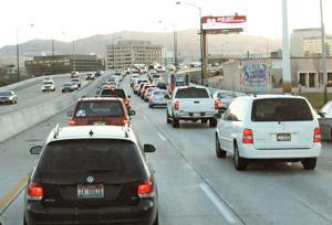 <p>Slow-moving morning traffic on I-84 into downtown Boise. Wednesday, Nov. 12, 2014 (Greg Kreller/IPT)</p>