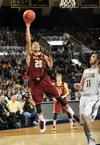 <p>Boston College guard Lonnie Jackson, left, puts up a shot over Notre Dame forward Garrick Sherman during the second half of an NCAA college basketball game Saturday, Feb. 1 2014 in South Bend, Ind. Notre Dame won 76-73 in overtime. (AP Photo/Joe Raymond)</p>