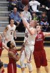 <p>Northwest Nazarene freshman Alex Birketoft goes up for a basket against Western Oregon on Feb. 7 in Nampa. After a 1-7 start to the season, Birketoft has keyed a Crusaders' resurgence. They can still achieve a first-round bye in next week's GNAC Tournament.</p>