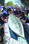 "<p class=""p1""><span class=""s1"">University of British Columbia team captain Bradley Ho, left, checks the floating capability of his team's concrete canoe during a Pacific Northwest engineering students competition held at Idaho State University on Friday. </span></p><p class=""p2""> </p>"