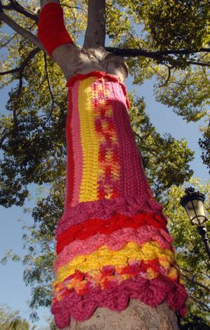 "Over the weekend of October 3-4, a ""Tree Sweater Forest"" appeared in downtown Livermore. Sponsored by the Bothwell Arts Center, the whimsical fiber art installations wrap trees along First Street between Maple and L Street. They will be on display through November 20. After the tree sweaters are removed, they will be donated to the Valley Humane Society to be used as animal comfort blankets (Photos - Doug Jorgensen)."
