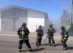 A mechanical malfunction was likely to blame for a fire that consumed a motor home and spread to the nearby Bethel Family Christian Center on North P Street in Livermore. The blaze was reported at about 10:42 a.m. on Monday, August 24th. When Livermore-Pleasanton Fire Department firefighters arrived, the motor home, parked adjacent to an exterior wall of the church, was fully engulfed. The main sanctuary of the church was not damaged (Photos - Doug Jorgensen).