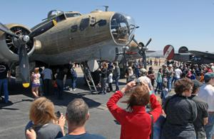 Iconic aircraft from World War II were on display at the Livermore Airport over the Memorial Day weekend. The planes are part of the Collings Foundation Wings of Freedom Tour. Pictured in the foregrounds is the B-17 Flying Fortress. Other aircraft on display were the B-24 Liberator heavy bombers and a P-51 Mustang (Photos - Doug Jorgensen).