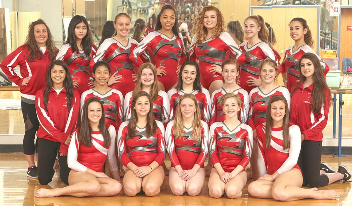 High school girls gymnastics team