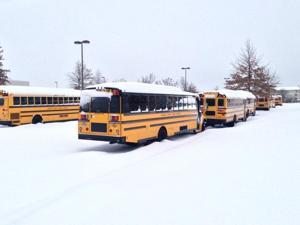 Snow school buses
