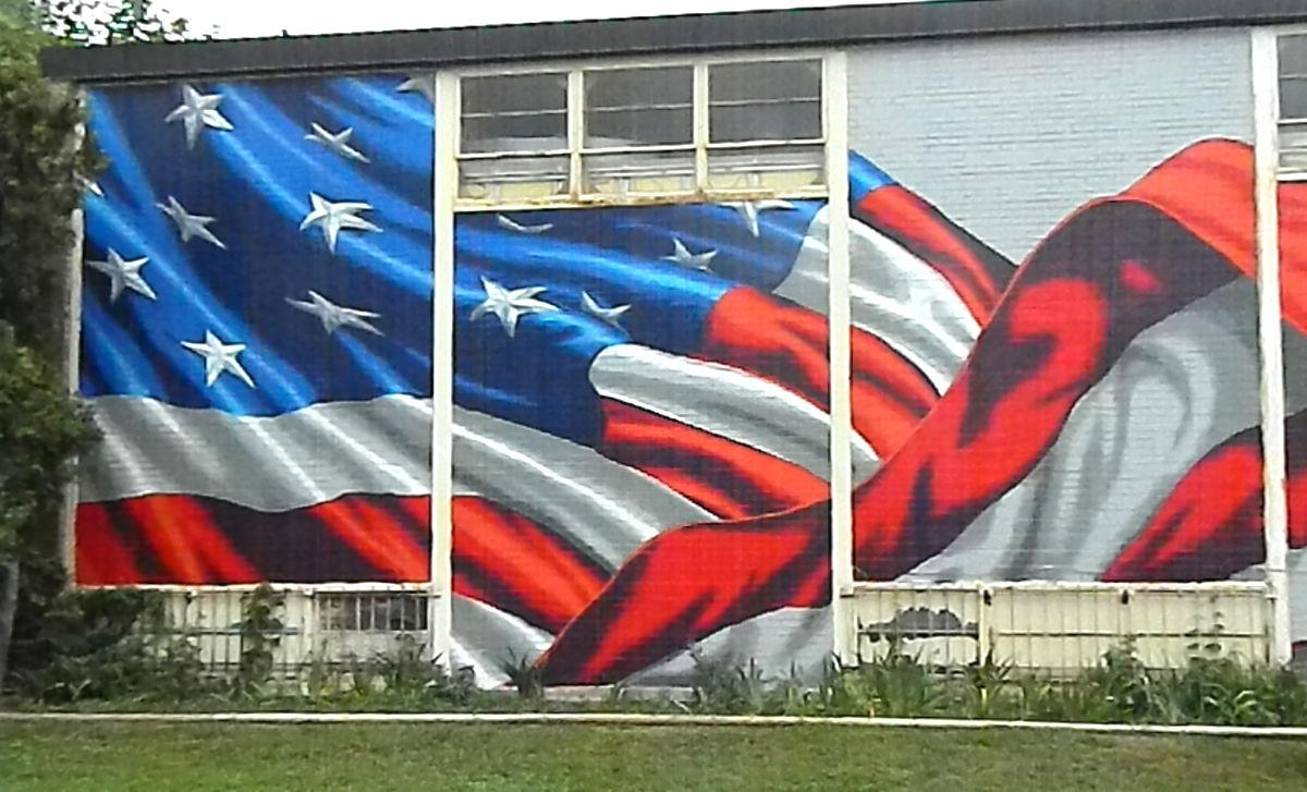Artist makes splash with flag mural at american legion for American flag wall mural