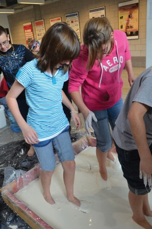 Middle School Engineering Day. Nevada Middle School Students step into gooey ...