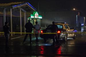 Police investigation at corner of Lincoln Way and Franklin Avenue