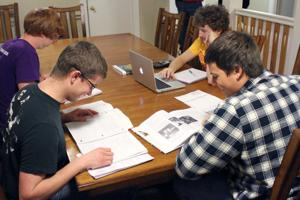 Acacia Fraternity members study together
