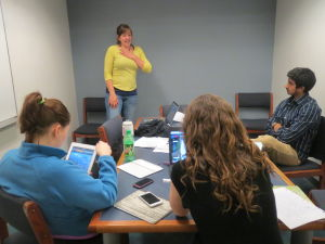 Students practice for monologue event