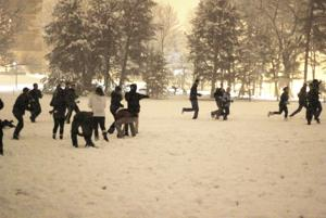 Central Campus snowball fight