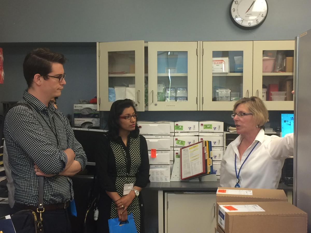 Prospective doctors tour the facilities at Cayuga Medical Center last week.