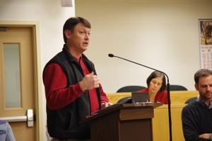<p>Varna resident Todd Bittner objects to the placement of the new rental housing complex by the intersection of Forest Home Drive and Rt. 366.</p>