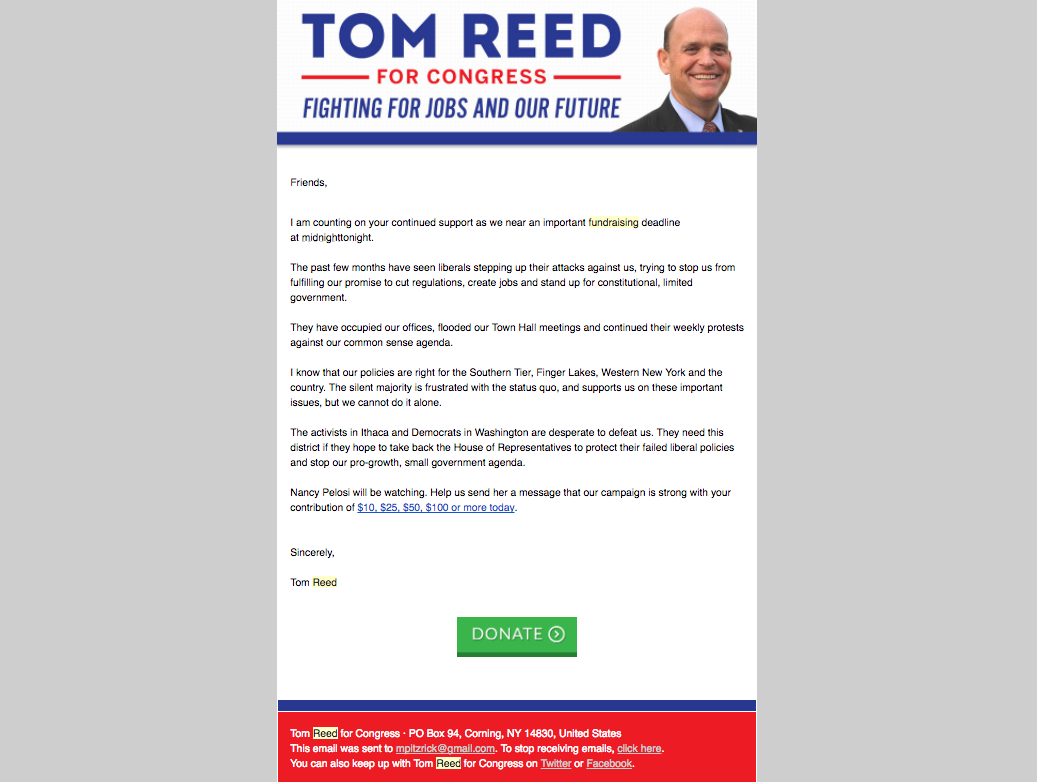 Tom Reed Fundraising Email