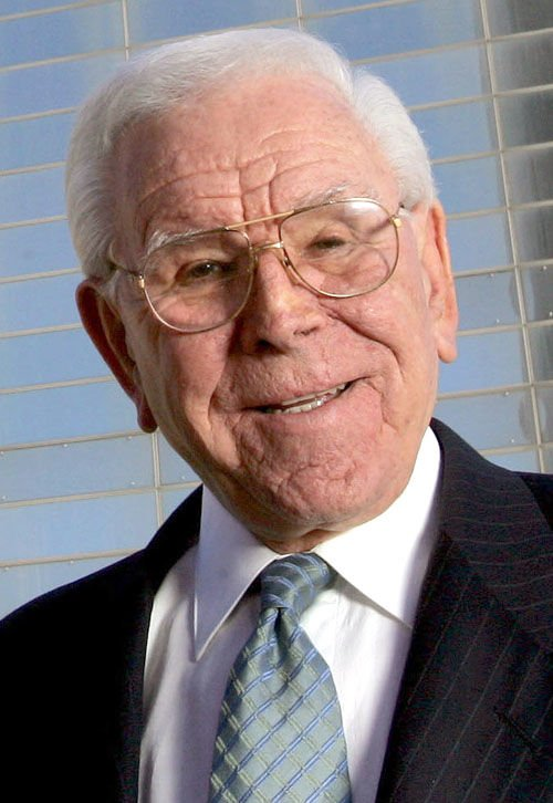 Robert H. Schuller poses for a photo outside the Crystal Cathedral in Orange, Calif. Schuller, the Southern California televangelist who founded the ... - 551d82dec096c.image