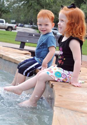 Getting their feet wet