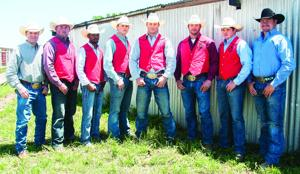 <p>Six Wharton County Junior College cowboys will compete in Casper, Wyo., next month during the College National Finals Rodeo. Pictured, from left, are rodeo coach Sean Amestoy, Cole Dollery of Caldwell, Shane Semien of Beaumont, Mason Boettcher of East Bernard, Hudson Wallace of George West, Cade Goodman of Waelder, Ty Arnold of Midway and assistant rodeo coach Casey Halderman.</p>