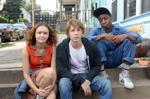 """<p>Olivia Cooke, from left, Thomas Mann, and RJ Cyler in a scene from """"Me and Earl and The Dying Girl.""""</p>"""
