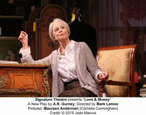 """<p>Maureen Anderman as Cornelia Cunningham in """"Love and Money"""" at the Alice Griffin Jewel Box Theatre in the Signature Center, 480 West 42nd St., New York City. (Joan Marcus photo).</p>"""