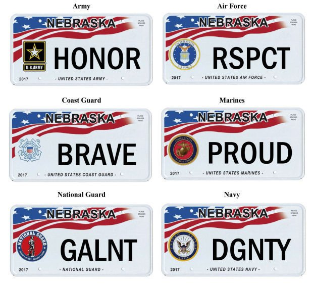 Dmv releases designs for military honor plates nebraska for Department of motor vehicles lincoln nebraska