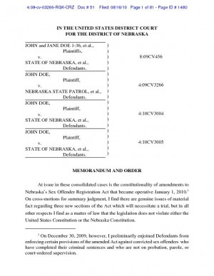 U.S. district judge's order on Nebraska's sex offender laws (PDF)
