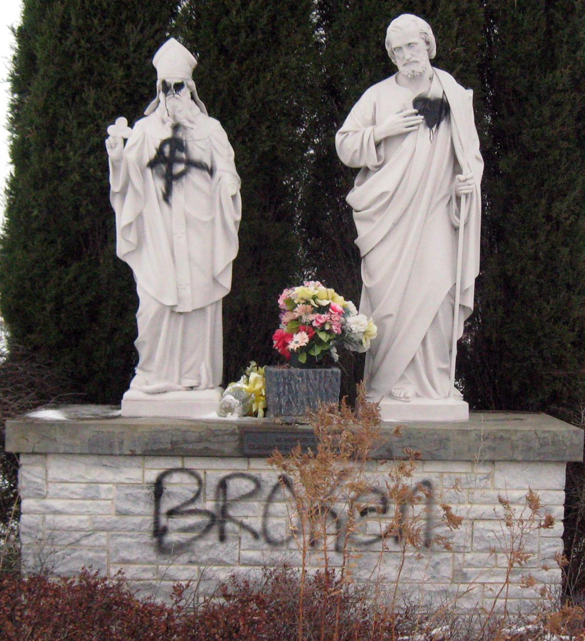 Cemetery Officials Say Statues Walls Vandalized