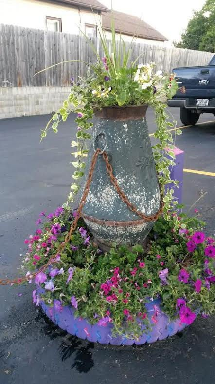 City orders woman to ditch tire planter local news - Planters made from old tires ...