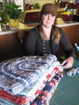 Jenny Harvey with rag rugs