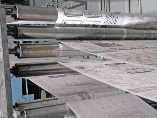 Kearney Hub printing press