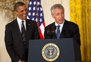 Chuck Hagel speaks after President Obama's announcement