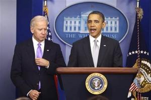 President Barack Obama stands with Vice President Joe Biden